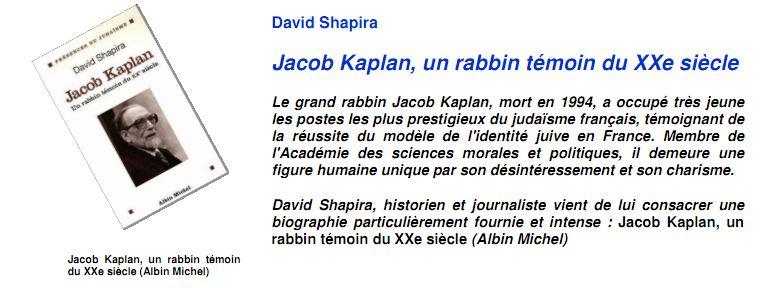 Jacob Kaplan, un rabbin témoin du XXe siècle