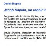"""Jacob Kaplan """"Un rabbin témoin du XXe siècle"""""""